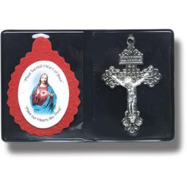 SACRED HEART BADGE AND CRUCIFIX