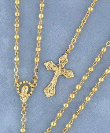 METAL BEAD ROSARY IN GOLD