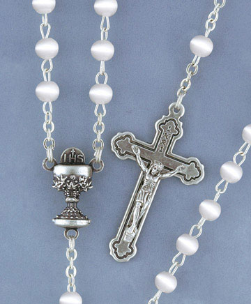 WHITE CATSEYE COMMUNNION ROSARY