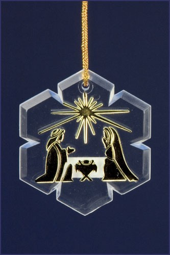 HOLY FAMILY SNOW FLAKE ORNAMENT