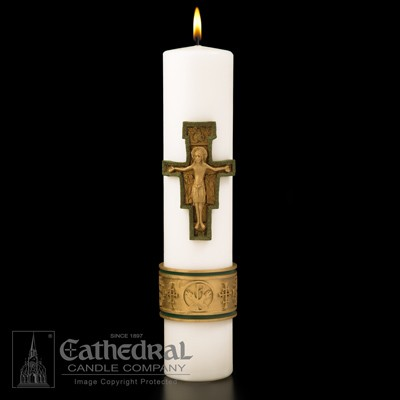 CROSS OF ST FRANCIS CHRIST CANDLE