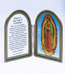 OUR LADY OF GUADALUPE STAINED GLASS PRAYER PLAQUE