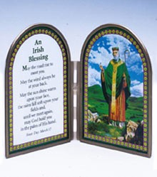 ST PATRICK STAINED GLASS PRAYER PLAQUE