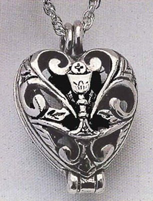 HEART PRAYER LOCKET WITH CUTOUT AND CHALICE DESIGN