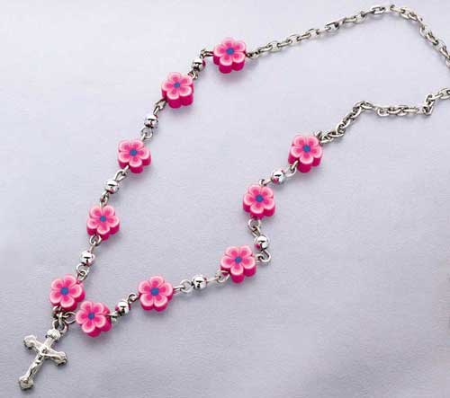 FLOWER BEAD CRUCIFIX NECKLACE