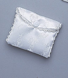 WHITE BROCADE ROSARY CASE
