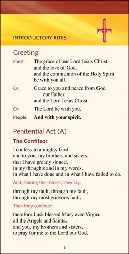 PEW CARDS - WORSHIP AIDS FOR THE REVISED ROMAN MISSAL