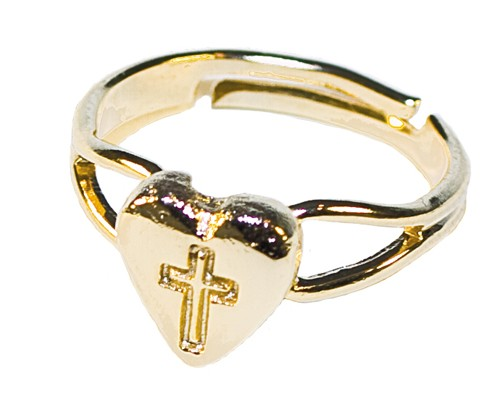 ADJUSTABLE HEART & CROSS RING