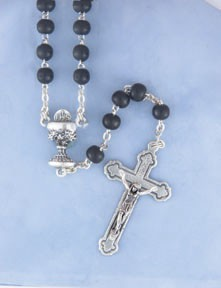 "BLACK BEAD 16"" COMMUNION ROSARY"