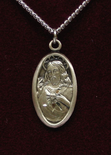 "STERLING SILVER SCAPULAR MEDAL 18"" STAINLESS CHAIN"