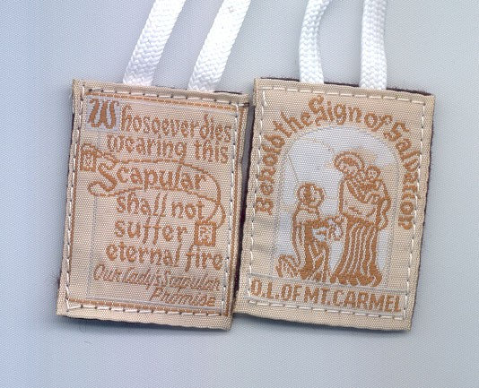 WHITE CLOTH EMBROIDERED SCAPULAR