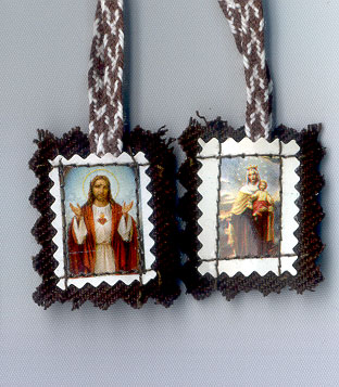 SMALL BROWN FELT SCAPULAR