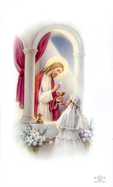 LAMINATED COMMUNION CUSTOM PRAYER CARD - GIRL