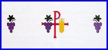 CHI RHO GRAPES & WHEAT EMBROIDERED ALTAR CLOTH