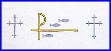 CHI RHO FISH & CROSS EMBROIDERED ALTAR CLOTH
