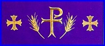 CHI RHO WHEAT & CROSS EMBROIDERED ALTAR CLOTH
