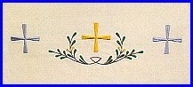 CROSS & OLIVE BRANCH EMBROIDERED ALTAR CLOTH