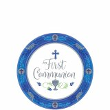 BLUE COMMUNION DESSERT PLATES