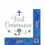 BLUE COMMUNION BEVERAGE NAPKIN