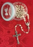 5mm PEARL BEAD COMMUNION ROSARY & BOX - 73-5844