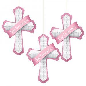 PINK 12 INCH HANGING CROSS SET