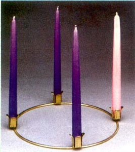 BRASS PLATED ADVENT WREATH 10 INCH